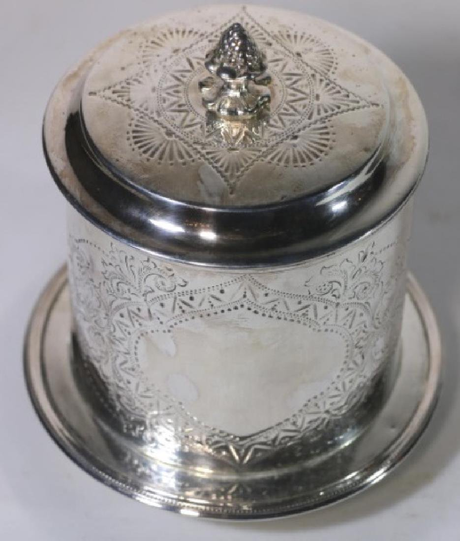 ENGLISH ANTIQUE SILVER BISCUIT BOX - 2