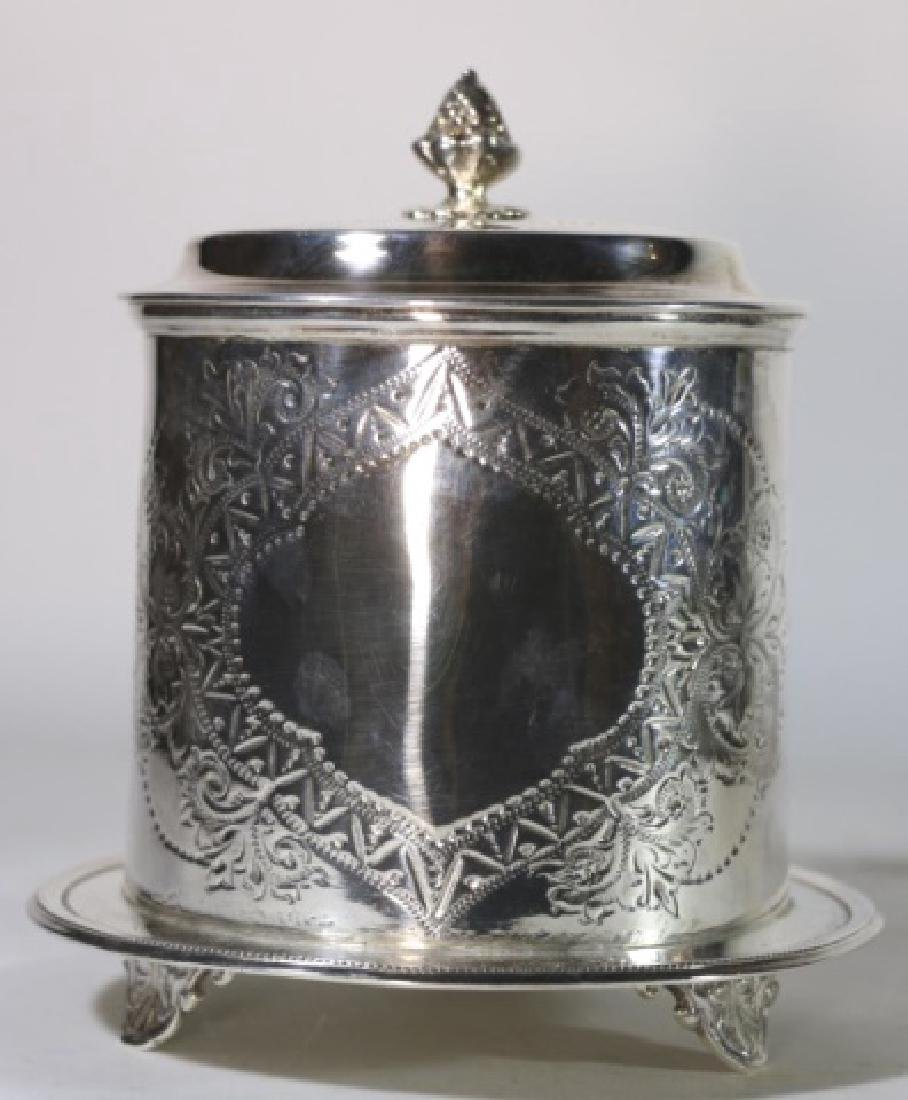 ENGLISH ANTIQUE SILVER BISCUIT BOX - 3