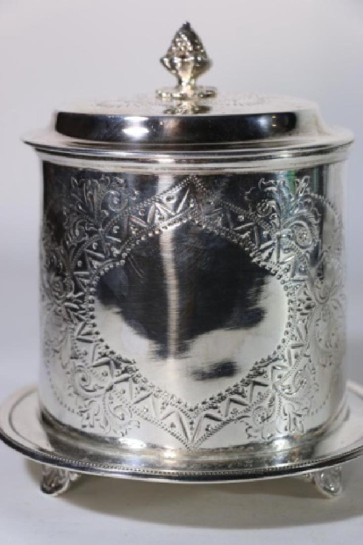 ENGLISH ANTIQUE SILVER BISCUIT BOX - 6