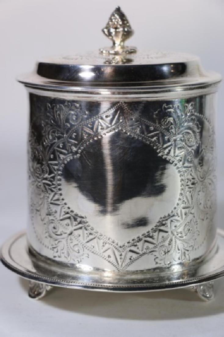 ENGLISH ANTIQUE SILVER BISCUIT BOX - 7