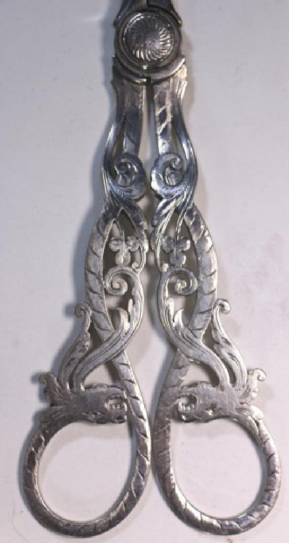 ENGLISH VICTORIAN ANTIQUE SILVER GRAPE SHEARS - 2