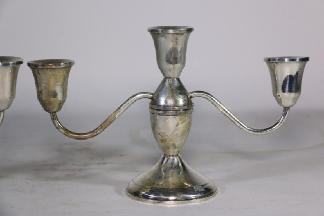 STERLING SILVER THREE ARM CANDLEABRA  PAIR - 2