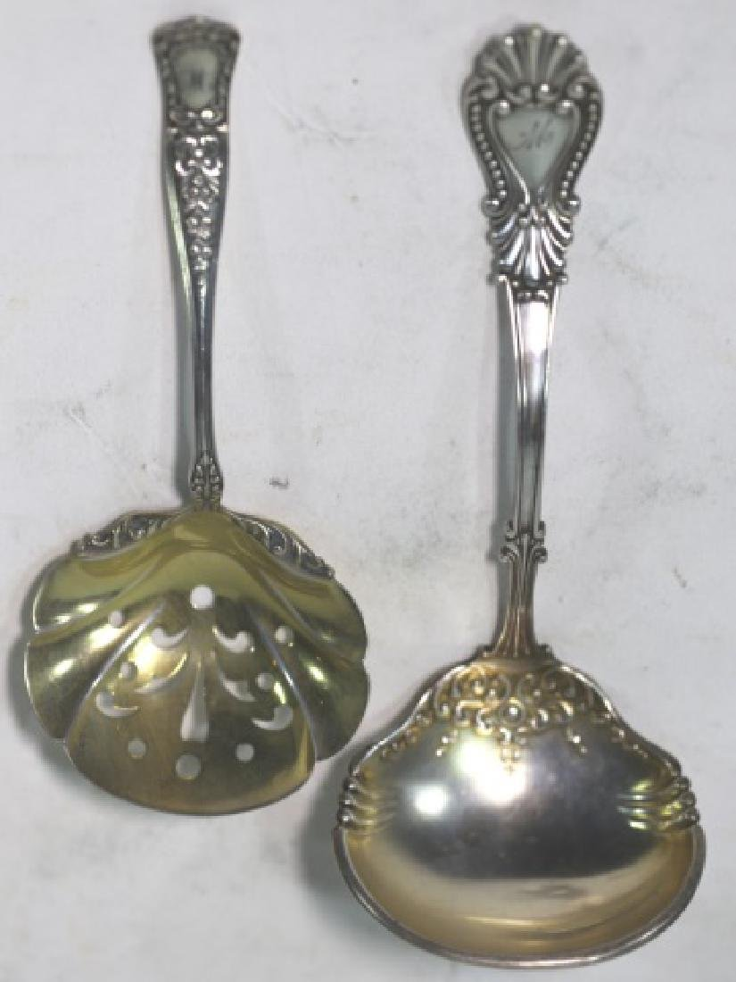 STERLING SILVER FINE SERVING SPOONS - 2