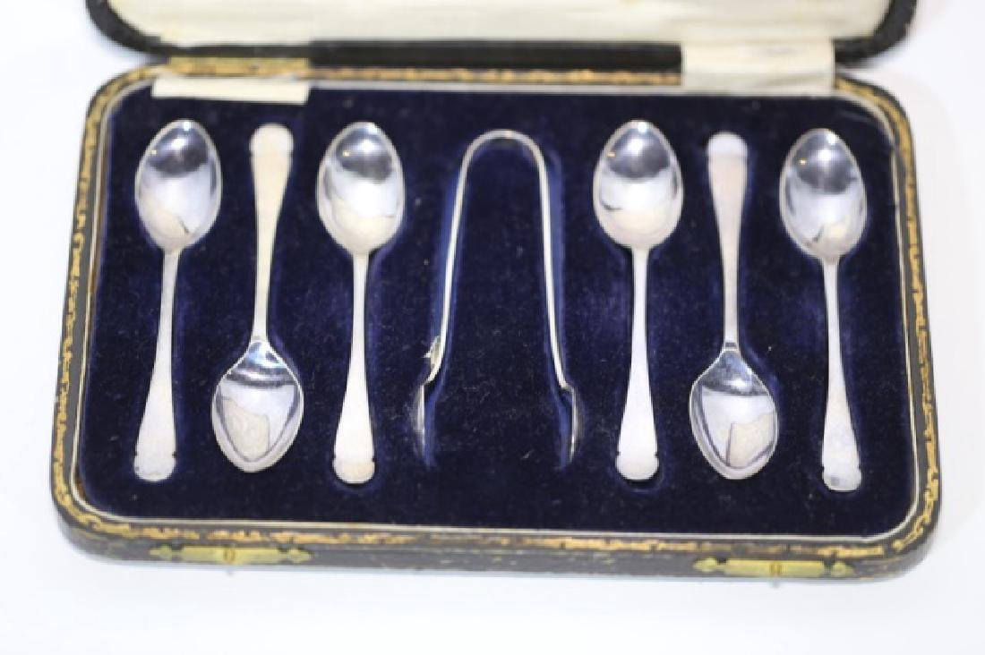 "STERLING SILVER ""HARDY BROTHERS"" SPOON & TONG SET - 4"