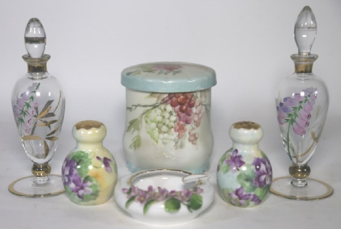 FRENCH FORAL PORCELAIN & GLASS DRESSER GROUPING