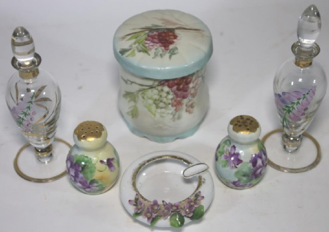 FRENCH FORAL PORCELAIN & GLASS DRESSER GROUPING - 2