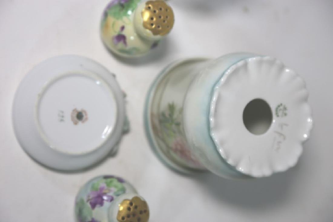 FRENCH FORAL PORCELAIN & GLASS DRESSER GROUPING - 4