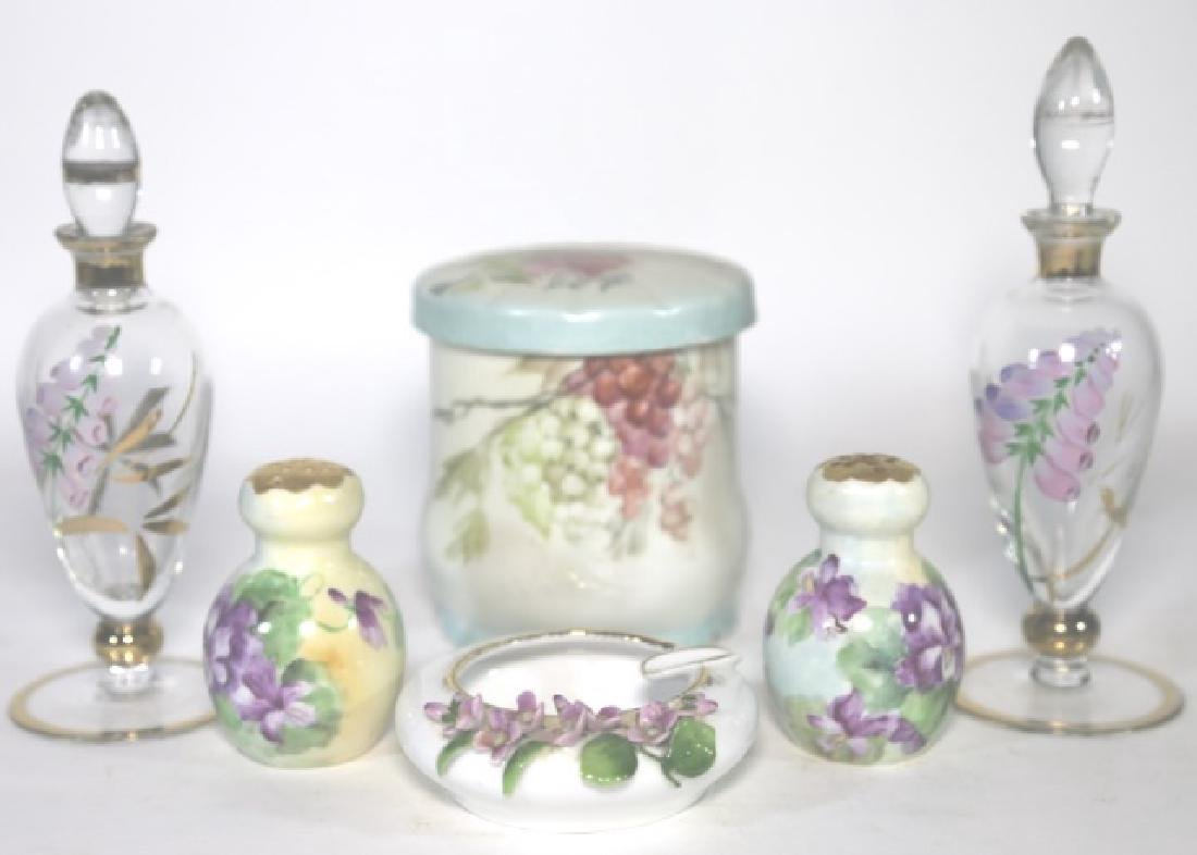 FRENCH FORAL PORCELAIN & GLASS DRESSER GROUPING - 5