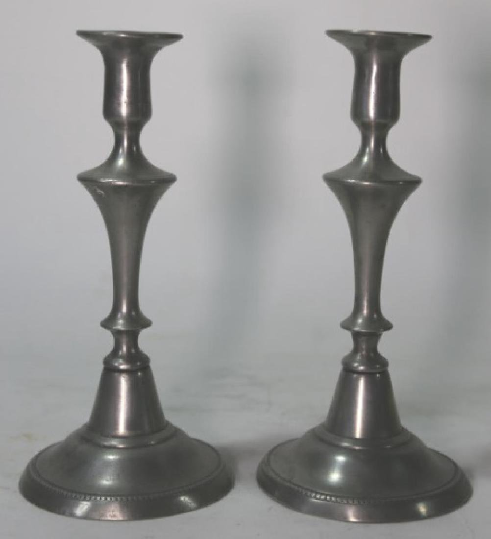 ENGLISH ANTIQUE PEWTER FINE PUSH UP CANDLESTICKS - 2