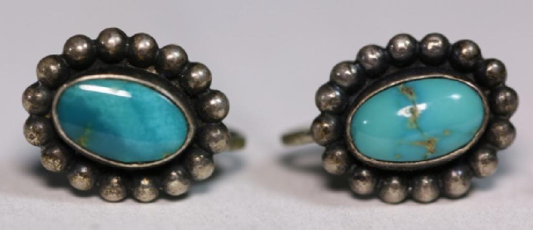 NATIVE AMERICAN STERLING SILVER TURQUOISE EARRINGS - 3