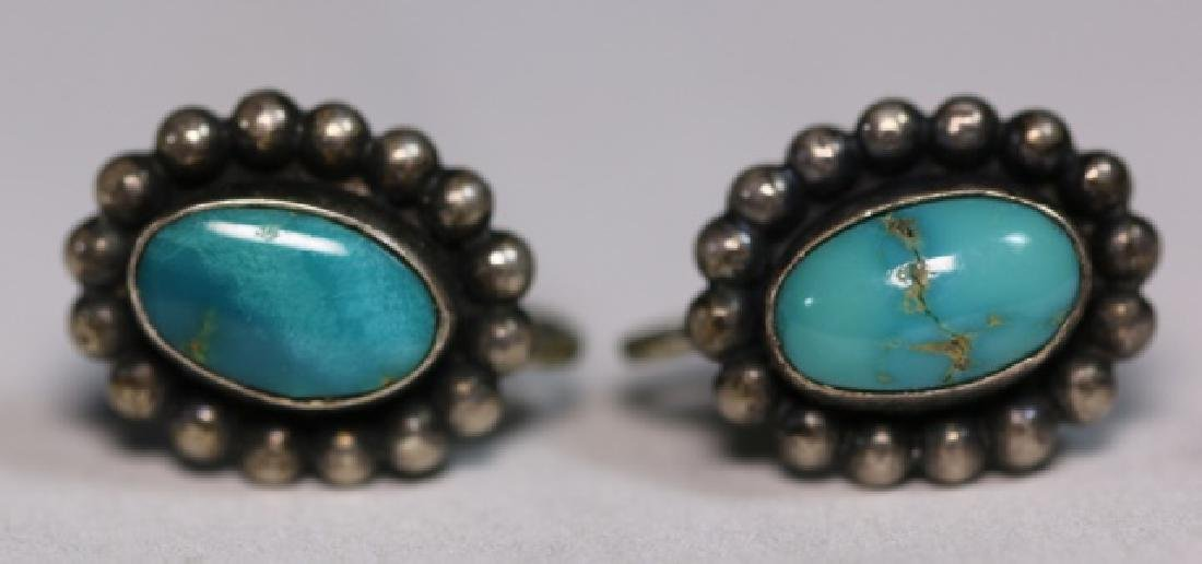 NATIVE AMERICAN STERLING SILVER TURQUOISE EARRINGS - 5