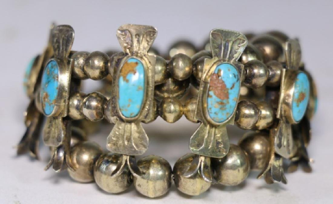 NATIVE AMERICAN STERLING SILVER TURQUOISE BRACELET - 2