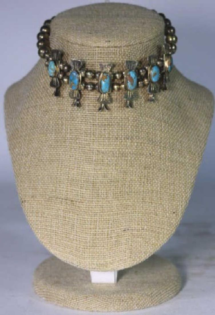 NATIVE AMERICAN STERLING SILVER TURQUOISE BRACELET - 3