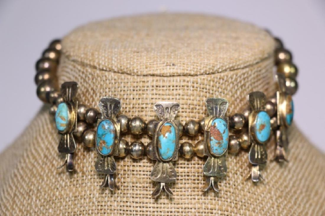 NATIVE AMERICAN STERLING SILVER TURQUOISE BRACELET - 4