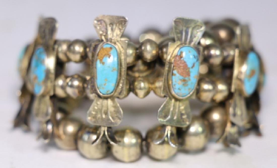 NATIVE AMERICAN STERLING SILVER TURQUOISE BRACELET - 5
