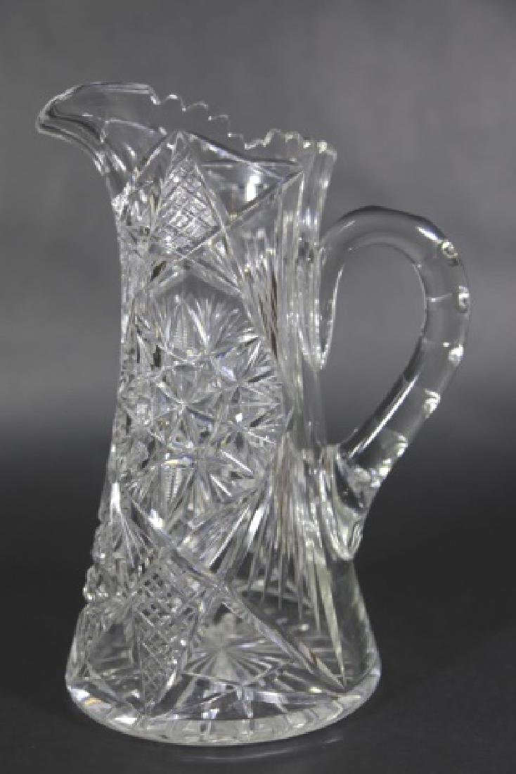 CUT GLASS FEATHERED STAR TALL WATER PITCHER