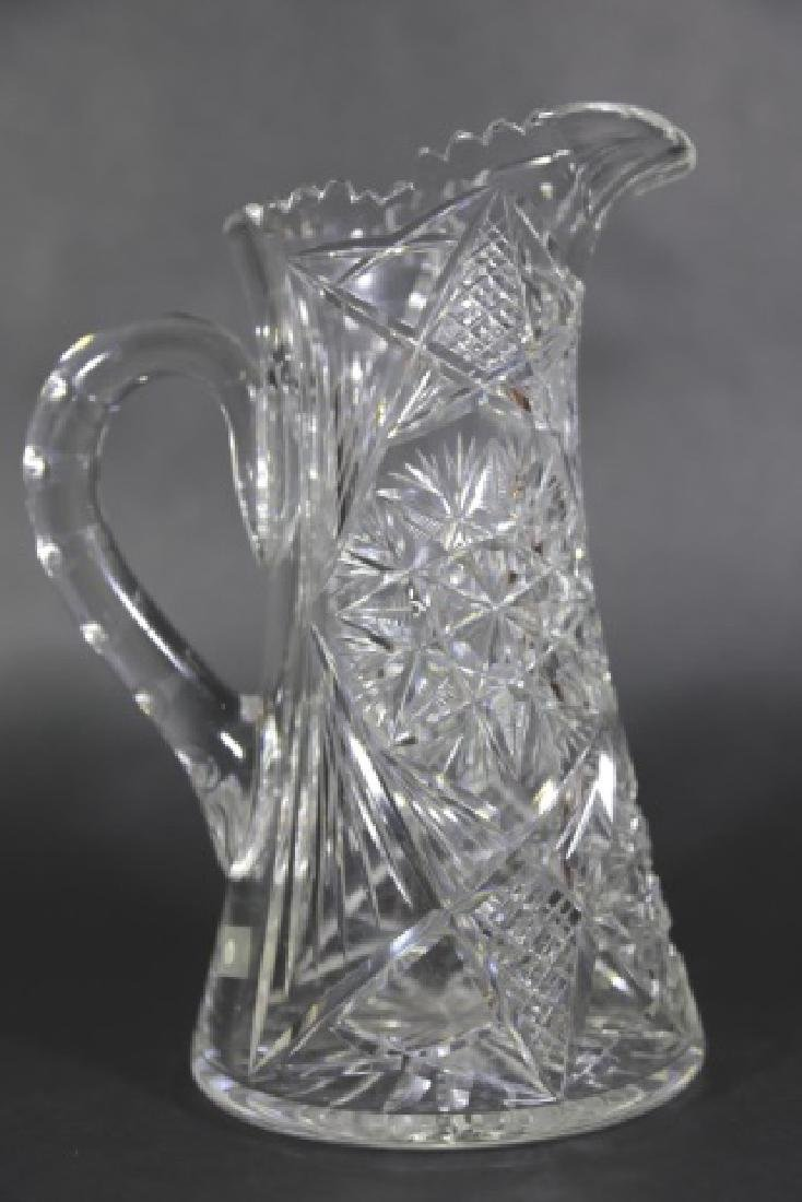 CUT GLASS FEATHERED STAR TALL WATER PITCHER - 3