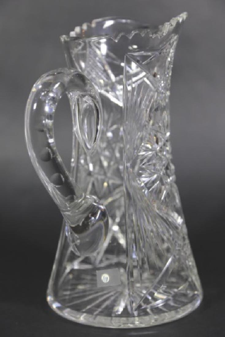CUT GLASS FEATHERED STAR TALL WATER PITCHER - 4