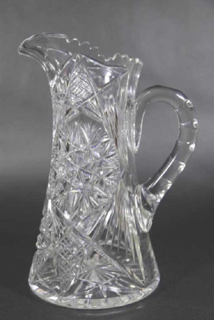 CUT GLASS FEATHERED STAR TALL WATER PITCHER - 7