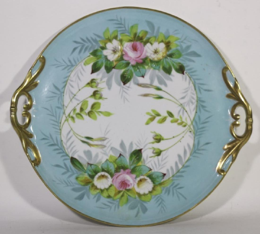 LIMOGES TWIN HANDLE FLORAL CHARGER
