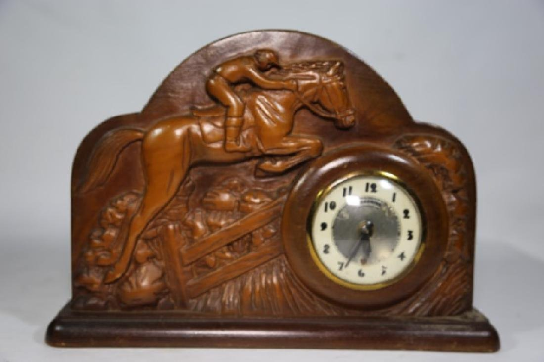 LANSHIRE EQUESTRIAN MID CENTURY ELECTRIC CLOCK - 4