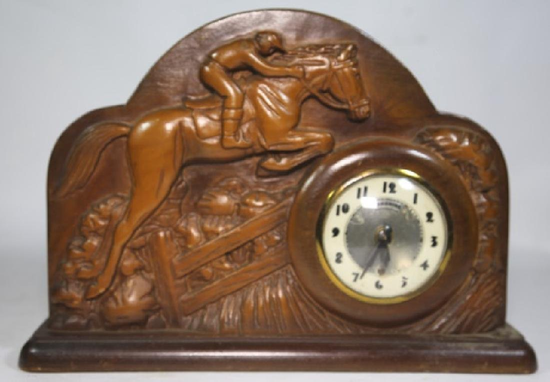 LANSHIRE EQUESTRIAN MID CENTURY ELECTRIC CLOCK - 5