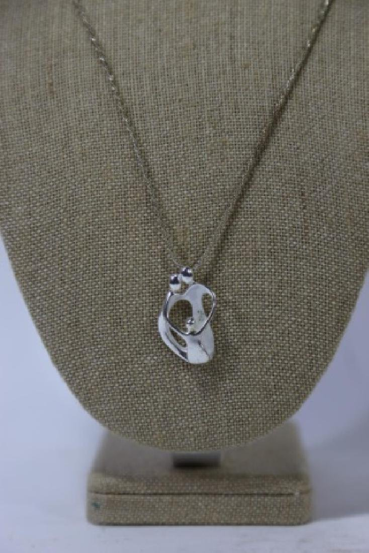 MODERN STERLING SILVER PENDANT ON CHAIN - 4