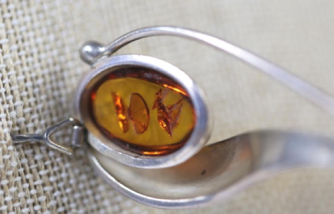 AMBER / STERLING SILVER MODERN PIN - 2