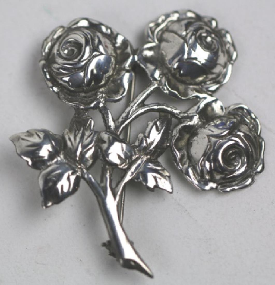 STERLING SILVER FLORAL ROSE PIN