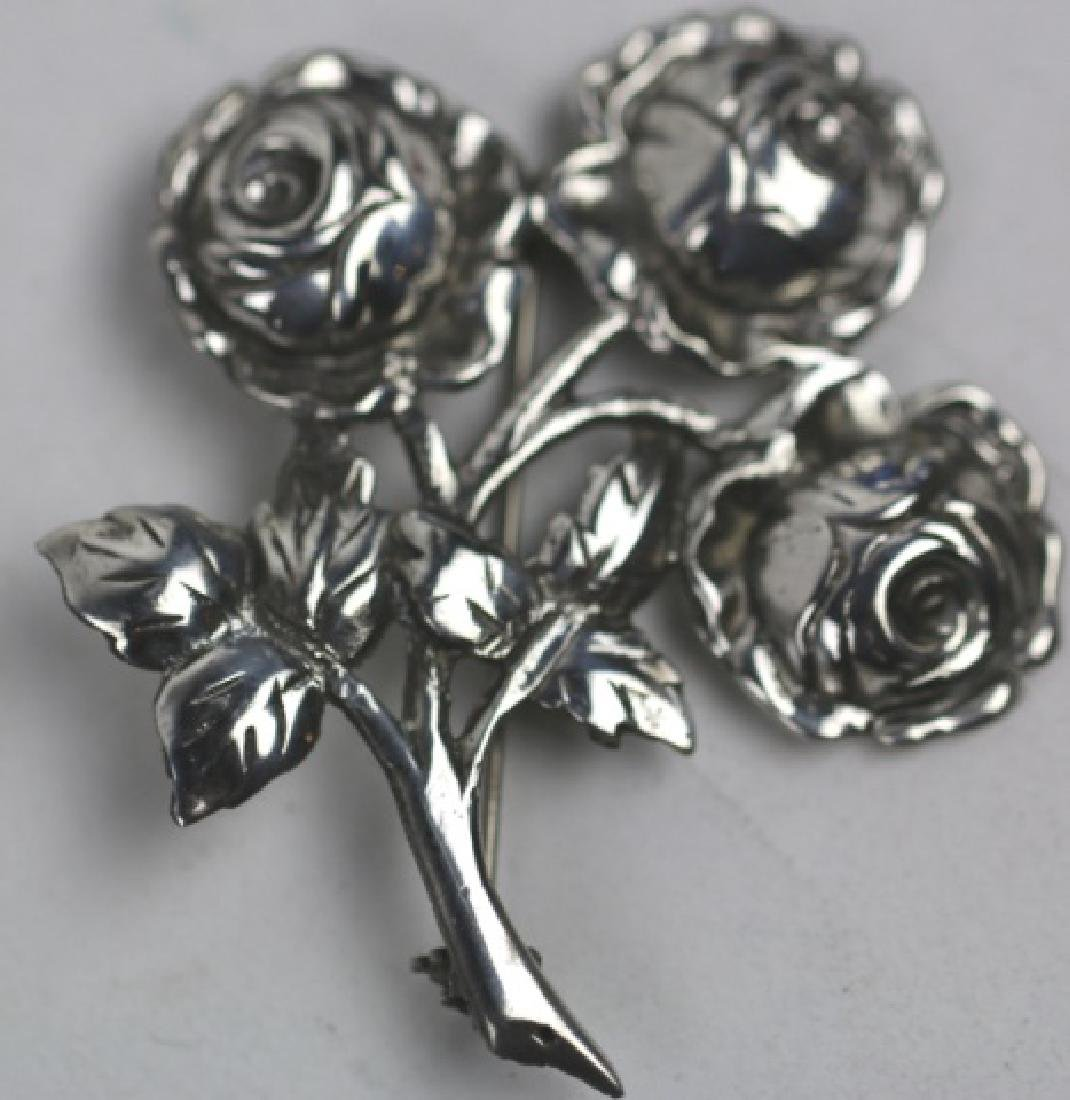 STERLING SILVER FLORAL ROSE PIN - 4