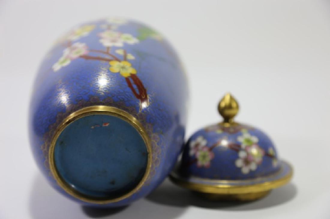 CHINESE CLOISSONE LIDDED JAR - 6