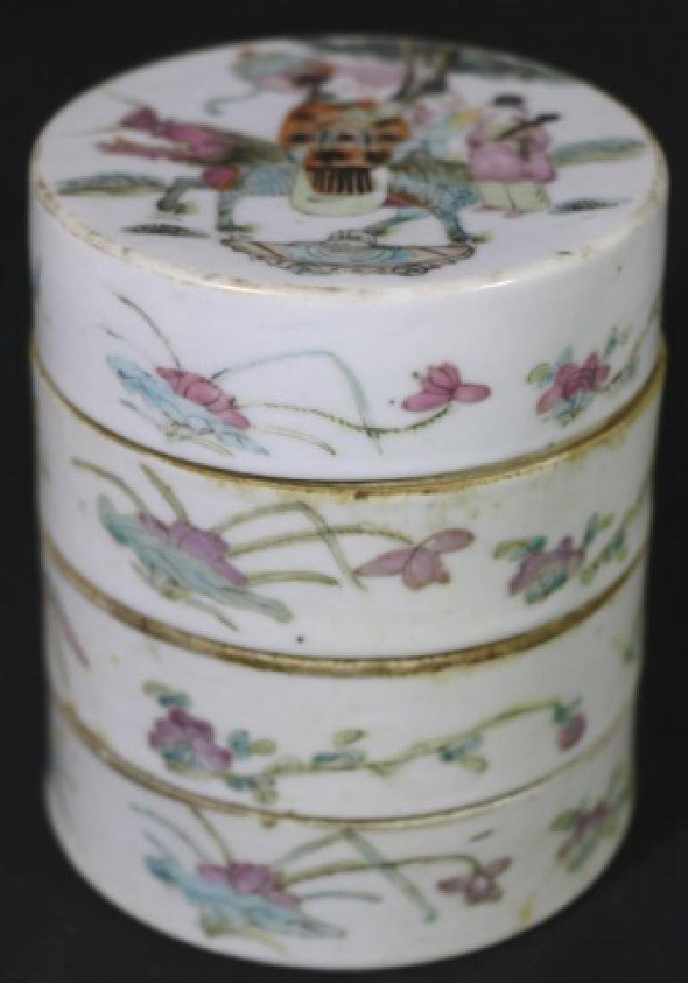 CHINESE ANTIQUE FAMILLE ROSE STACKING BOXES