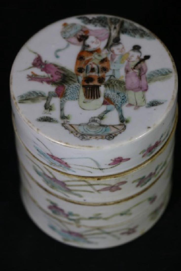 CHINESE ANTIQUE FAMILLE ROSE STACKING BOXES - 3