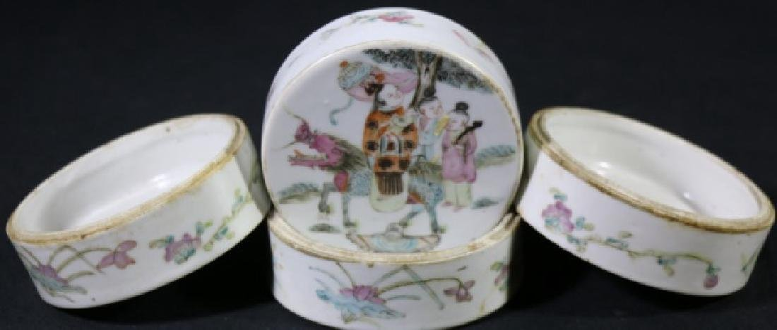 CHINESE ANTIQUE FAMILLE ROSE STACKING BOXES - 9