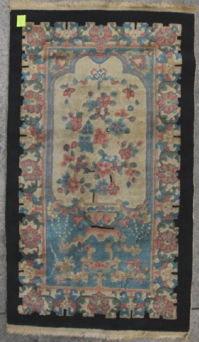 CHINESE ANTIQUE HAND WOVEN AREA CARPET - 2