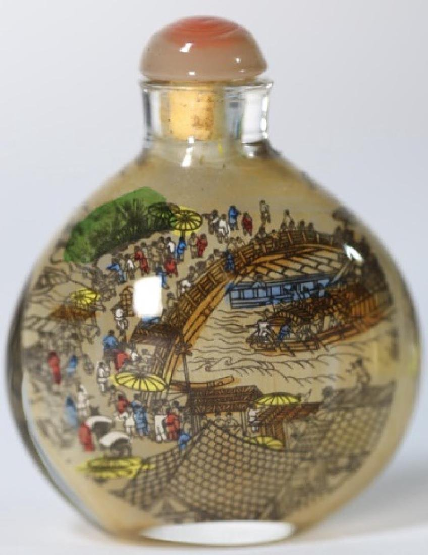CHINESE ANTIQUE REVERSE  PAINTED SNUFF BOTTLE