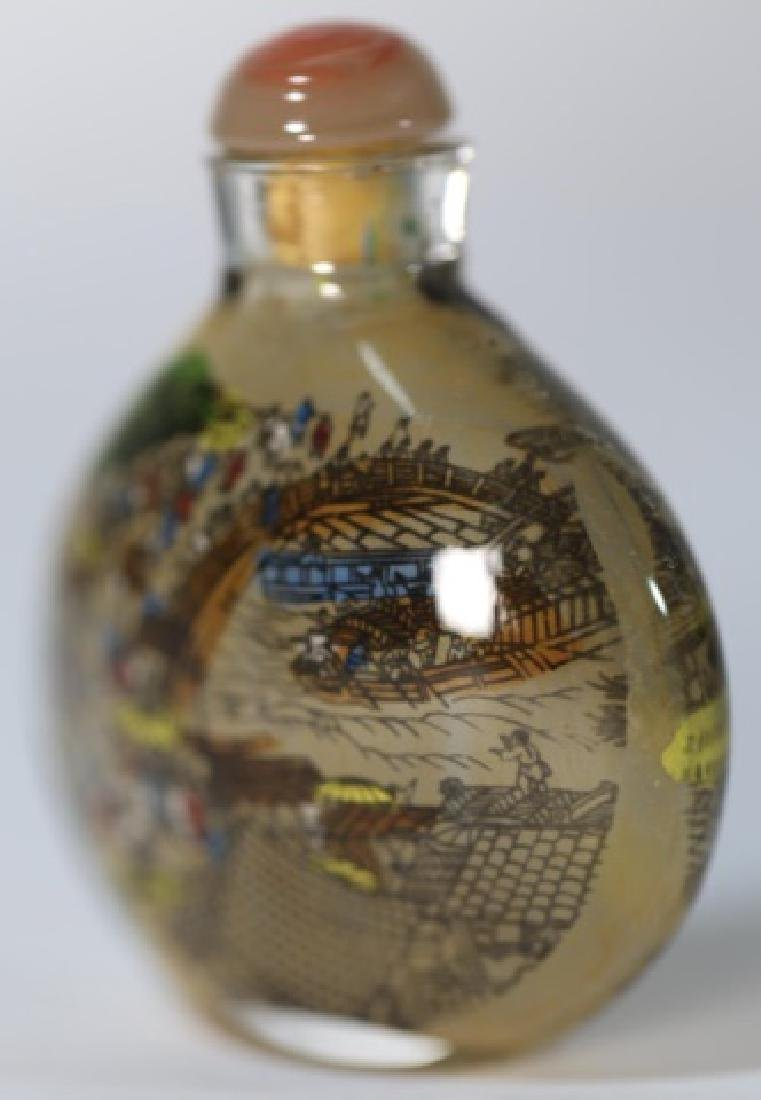 CHINESE ANTIQUE REVERSE  PAINTED SNUFF BOTTLE - 2