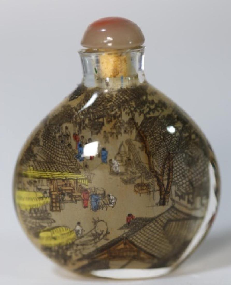 CHINESE ANTIQUE REVERSE  PAINTED SNUFF BOTTLE - 3