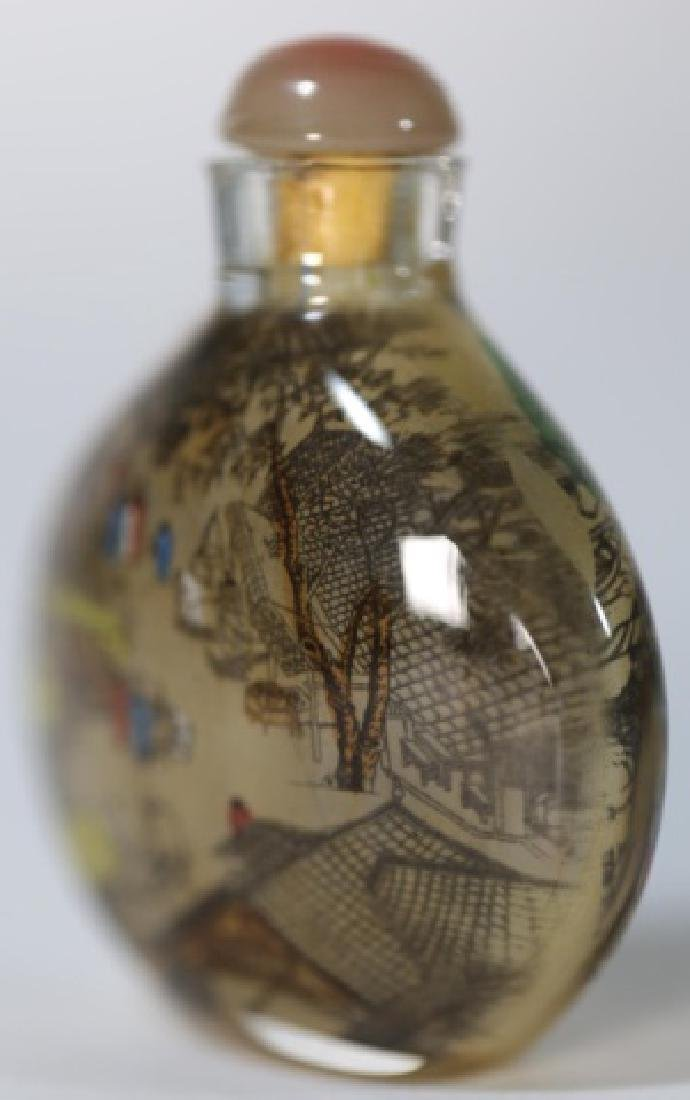 CHINESE ANTIQUE REVERSE  PAINTED SNUFF BOTTLE - 4