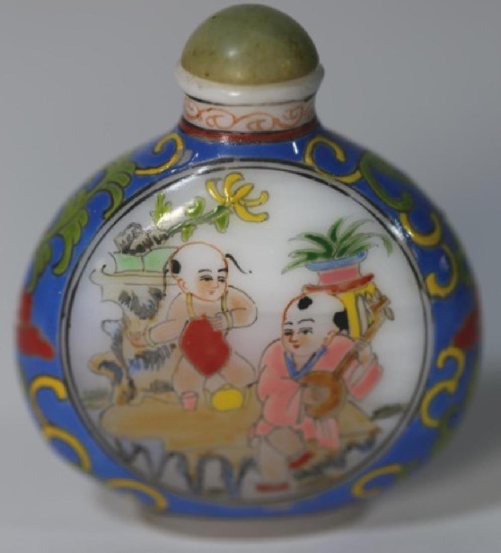 CHINESE PEKING GLASS  PAINT DECORATED SNUFF BOTTLE