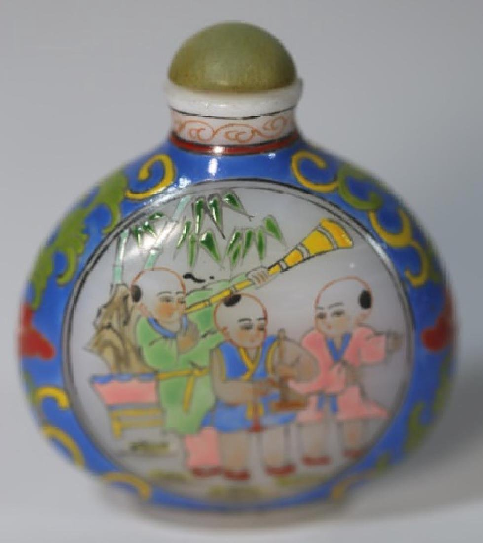 CHINESE PEKING GLASS  PAINT DECORATED SNUFF BOTTLE - 2