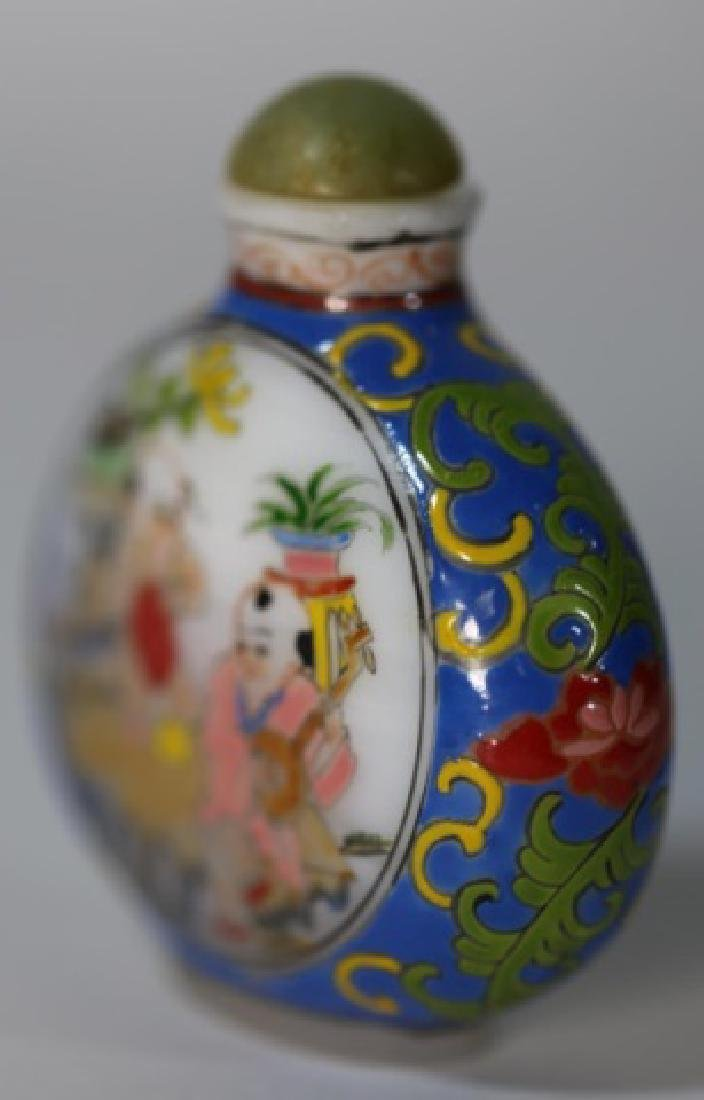 CHINESE PEKING GLASS  PAINT DECORATED SNUFF BOTTLE - 4