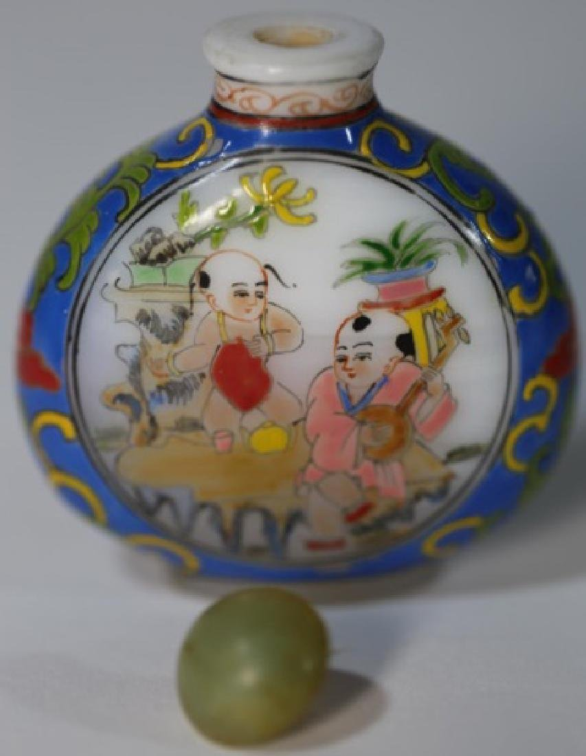 CHINESE PEKING GLASS  PAINT DECORATED SNUFF BOTTLE - 5