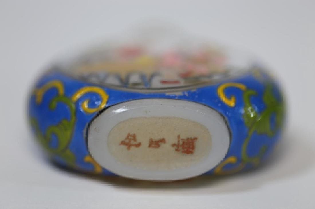 CHINESE PEKING GLASS  PAINT DECORATED SNUFF BOTTLE - 6