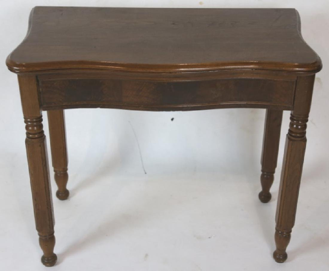 AMERICAN ANTIQUE WALNUT SERPENTINE GAME TABLE - 2