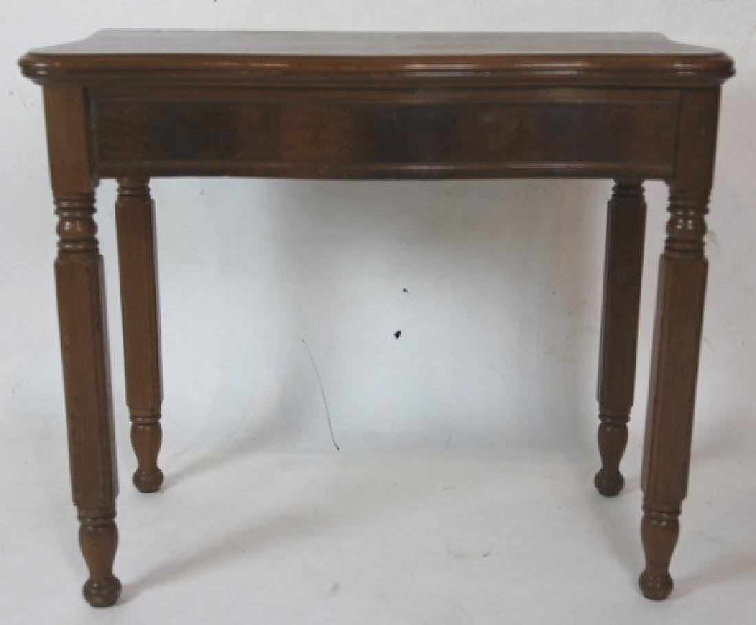 AMERICAN ANTIQUE WALNUT SERPENTINE GAME TABLE - 3