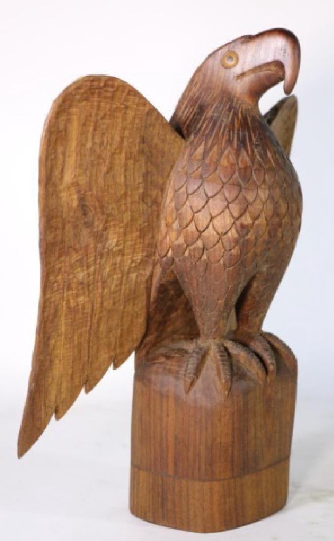 HENRY WINTER CARVED WALNUT EAGLE, SIGNED - 3