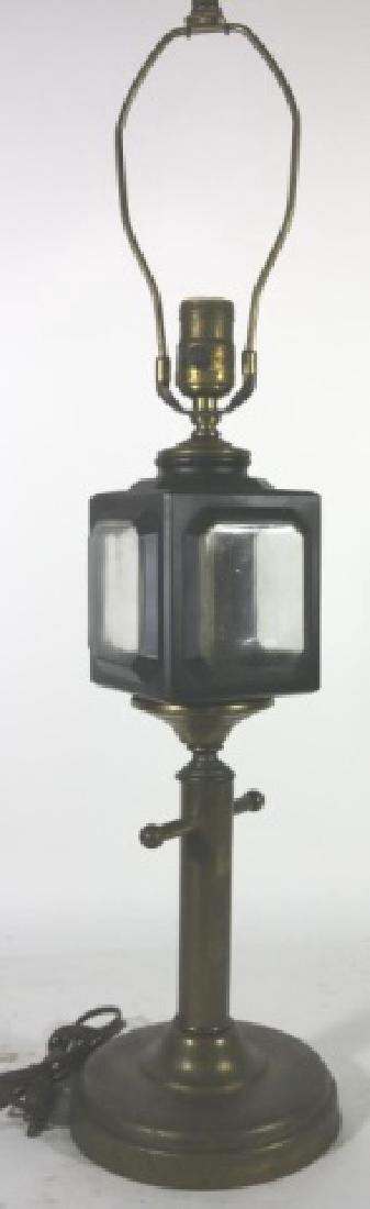 ANTIQUE CARRIAGE LIGHT  MOUNTED TABLE LAMP