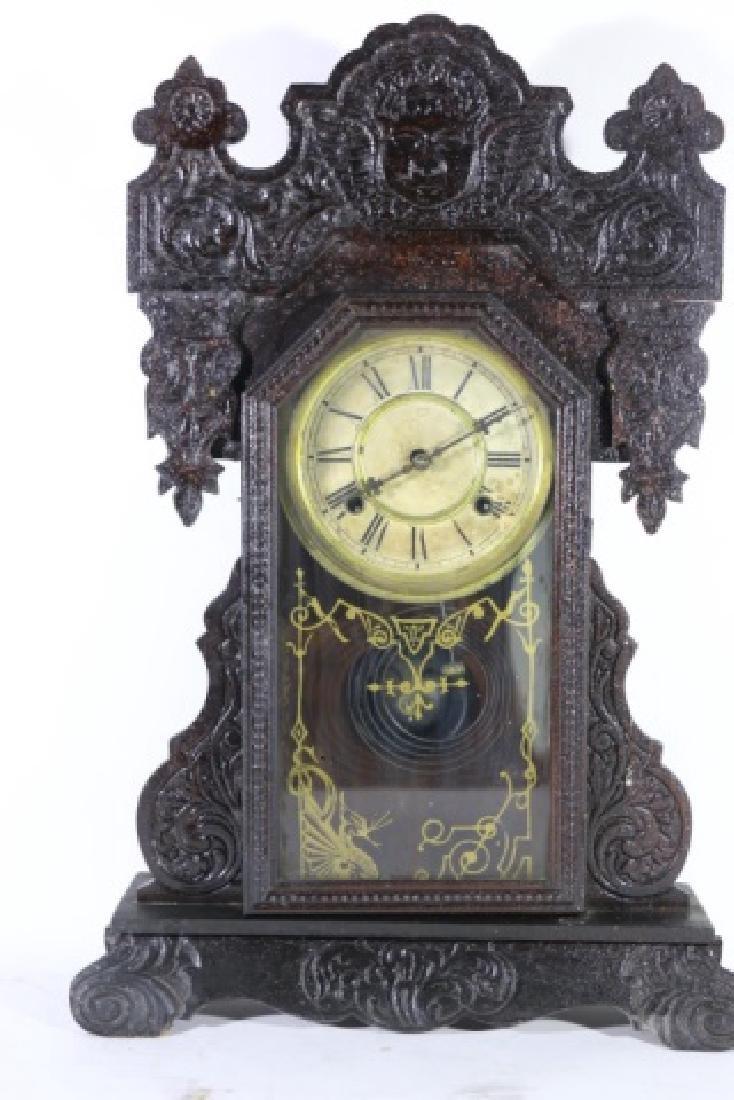 AMERICAN ANTIQUE OAK KITCHEN CLOCK