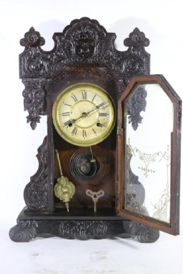 AMERICAN ANTIQUE OAK KITCHEN CLOCK - 2